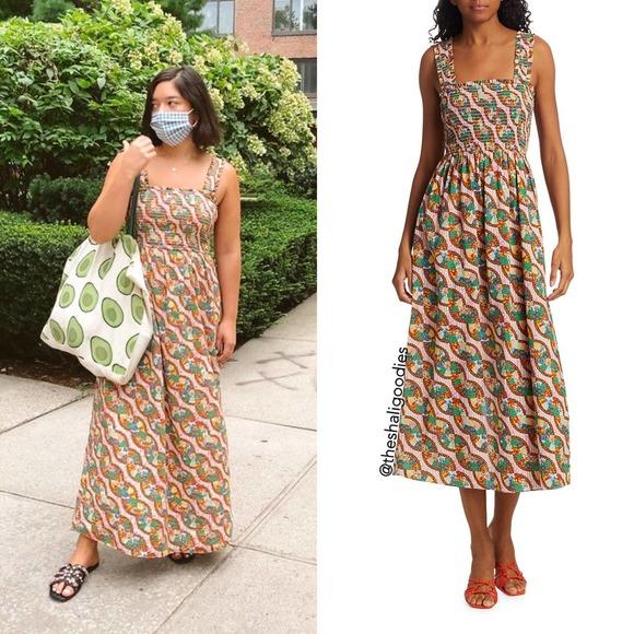 RHODE Maggie Dress Patchwork Smocked Midi NWOT